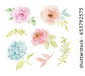 painted watercolor set of... | Shutterstock . vector #653792575
