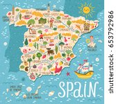 vector stylized map of spain.... | Shutterstock .eps vector #653792986