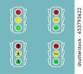 traffic light icons set  yes ...