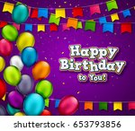 vector birthday banner with... | Shutterstock .eps vector #653793856