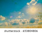 white fluffy clouds in the blue ... | Shutterstock . vector #653804806