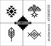 aztec tribal elements icons | Shutterstock .eps vector #653808535