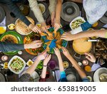 table of enjoying food with...   Shutterstock . vector #653819005