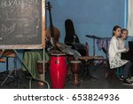 Small photo of MOSCOW, RUSSIAN FEDERATION - CIRCA MAY, 2017: Music room. The students get acquainted with various musical instruments in the learning process. Stremyanny lane. School 627, Department 4.