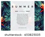 floral horizontal postcard... | Shutterstock .eps vector #653825035