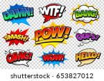 set of vector comic speech... | Shutterstock .eps vector #653827012