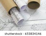 plans of building | Shutterstock . vector #653834146