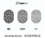 vector fingerprint icons set ... | Shutterstock .eps vector #653839816