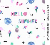 summer seamless pattern with... | Shutterstock .eps vector #653861785