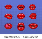 set of different female red... | Shutterstock .eps vector #653862922