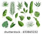 set of tropical leaves.... | Shutterstock .eps vector #653865232