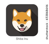 shiba inu dog face cartoon flat ... | Shutterstock .eps vector #653868646