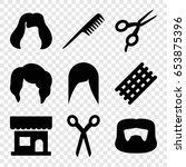 haircut icons set. set of 9... | Shutterstock .eps vector #653875396