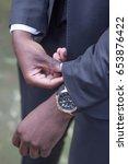 black african man wearing men's ...   Shutterstock . vector #653876422