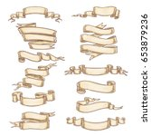 heraldic paper ribbons or roll...   Shutterstock .eps vector #653879236