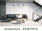 mock up wall in interior with... | Shutterstock . vector #653879476