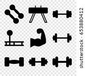 bodybuilding icons set. set of... | Shutterstock .eps vector #653880412