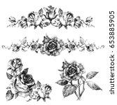 rose design elements  garlands... | Shutterstock .eps vector #653885905