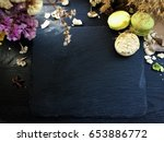 black background and stone tray ... | Shutterstock . vector #653886772
