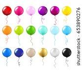 balloons big set gradient mesh  ... | Shutterstock .eps vector #653890276
