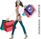 woman with shopping bags | Shutterstock .eps vector #65389318