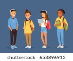 young  people with gadgets ... | Shutterstock .eps vector #653896912
