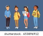 set of friends  university... | Shutterstock .eps vector #653896912