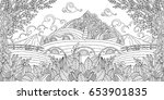 adult coloring illustration of... | Shutterstock .eps vector #653901835