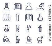 set of 16 lab outline icons... | Shutterstock .eps vector #653905642
