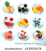 big collection of fruit in a... | Shutterstock .eps vector #653905678