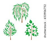 flat trees on white background. ... | Shutterstock . vector #653906752