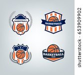 basketball sport logo design... | Shutterstock .eps vector #653909902