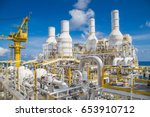 pipe work and exhaust stack at... | Shutterstock . vector #653910712