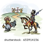 don quijote with his servant ... | Shutterstock .eps vector #653914156