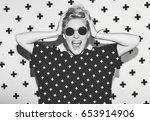 stylish fashion sexy blonde bad ... | Shutterstock . vector #653914906