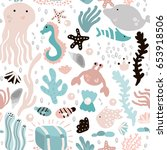 seamless pattern with undersea... | Shutterstock .eps vector #653918506