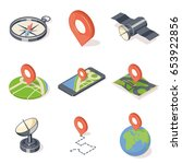 gps navigation icons set... | Shutterstock .eps vector #653922856