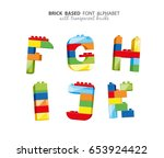 alphabet created from playing...   Shutterstock .eps vector #653924422