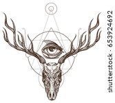 sketch of deer skull and all... | Shutterstock .eps vector #653924692
