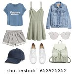 a set of fashionable clothes... | Shutterstock . vector #653925352