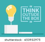 think outside the box with text.... | Shutterstock .eps vector #653932975