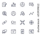 set of 16 engine outline icons...