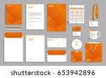 orange corporate identity...   Shutterstock .eps vector #653942896