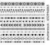 digital aztec borders elements | Shutterstock .eps vector #653946865
