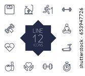 set of 12 training outline... | Shutterstock .eps vector #653947726