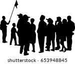 vector silhouette of tour guide ... | Shutterstock .eps vector #653948845