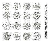 Stock vector flowers thin monochrome icon set black and white kit 653949676