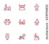 set of 9 people outline icons... | Shutterstock .eps vector #653950852