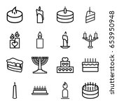 set of 16 candle outline icons... | Shutterstock .eps vector #653950948