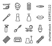 cosmetic icons set. set of 16... | Shutterstock .eps vector #653951122
